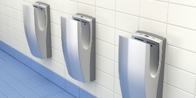 Vertical high speed hand dryers in public washroom